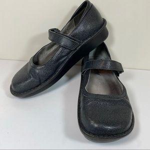 Algeria Black leather swirl Mary Jane clogs
